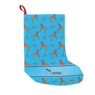 Personalized name sky blue Rhodesian ridgeback dog Small Christmas Stocking