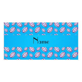 Personalized name sky blue rugby balls picture card