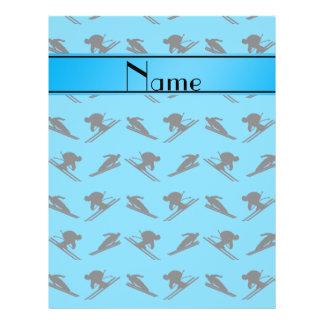 Personalized name sky blue ski pattern flyer