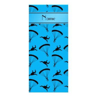 Personalized name sky blue skydiving pattern personalized rack card