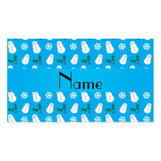 Personalized name sky blue snowman christmas business cards