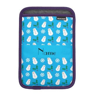 Personalized name sky blue snowman christmas sleeve for iPad mini