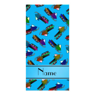 Personalized name sky blue snowmobiles customised photo card