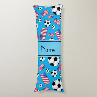 Personalized name sky blue soccer american flag body pillow
