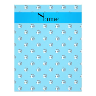 Personalized name sky blue soccer balls flyer