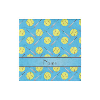 Personalized name sky blue softball pattern stone magnet