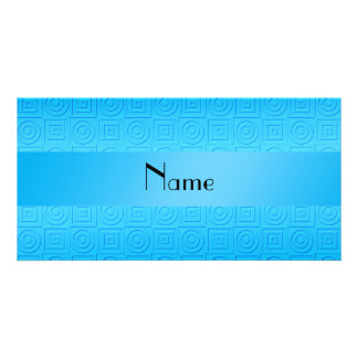 Personalized name sky blue squares circles customized photo card
