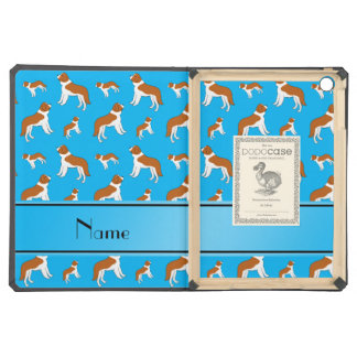 Personalized name sky blue St Bernard dogs iPad Air Covers
