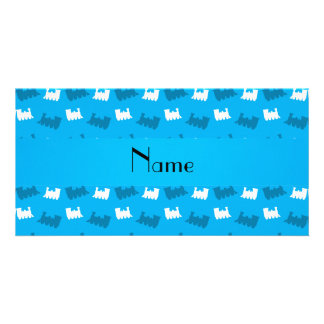 Personalized name sky blue train pattern photo card template