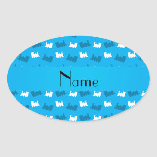 Personalized name sky blue train pattern stickers