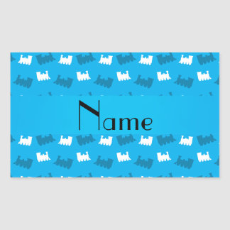 Personalized name sky blue train pattern rectangle sticker