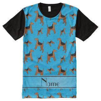 Personalized name sky blue Welsh Terrier dogs All-Over Print T-Shirt