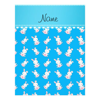"""Personalized name sky blue white bunnies 8.5"""" x 11"""" flyer"""