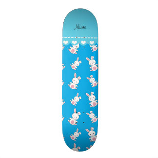Personalized name sky blue white bunnies skate deck