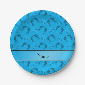 Personalized name sky blue wrestlers paper plate