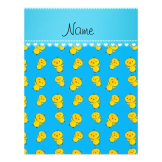 """Personalized name sky blue yellow chicks 8.5"""" x 11"""" flyer"""