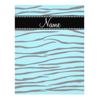 Personalized name sky blue zebra stripes flyer