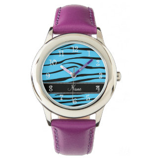 Personalized name sky blue zebra stripes watches