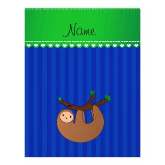 Personalized name sloth blue stripes flyer design