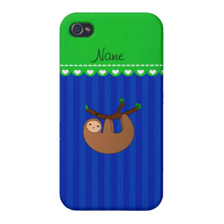 Personalized name sloth blue stripes iPhone 4 case