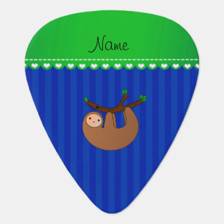 Personalized name sloth blue stripes plectrum