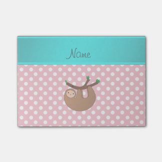 Personalized name sloth pink polka dots post-it notes
