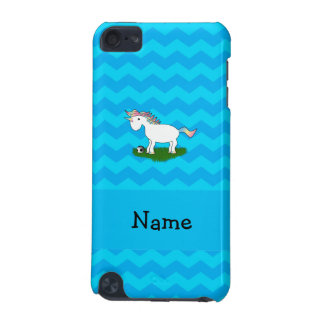 Personalized name soccer unicorn blue chevrons iPod touch (5th generation) case