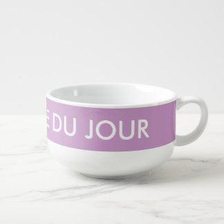 Personalized name soupe du jour purple mug bowl