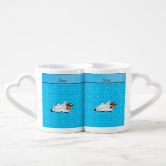 Personalized name space shuttle blue stars lovers mug sets