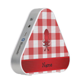 Personalized name squid red picnic checkers