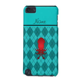 Personalized name squid turquoise argyle iPod touch (5th generation) cover