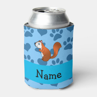 Personalized name squirrel pastel blue paws can cooler