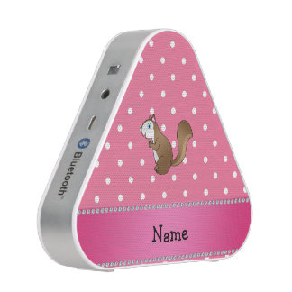 Personalized name squirrel pink polka dots pattern speaker