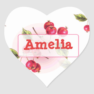 Personalized Name Sticker with cute retro Cherries