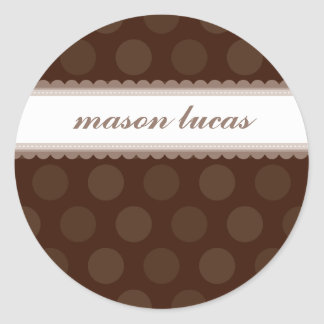 PERSONALIZED NAME STICKERS :: chocolate drop 2