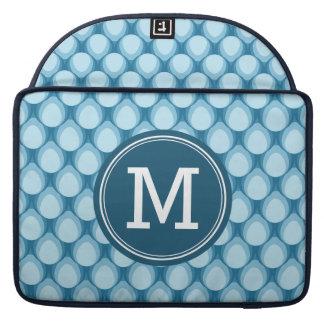 Personalized Name Stylish Blue Teardrop Monogram Sleeves For MacBooks