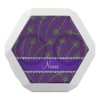 Personalized name swirly purple peacock feathers