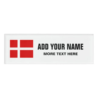 Personalized name tags with Danish flag of Denmark