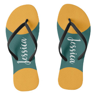 Personalized Name Teal and Yellow Chic Flip Flop