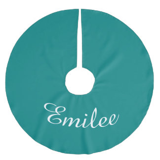 Personalized Name Teal Green Holiday Christmas Brushed Polyester Tree Skirt