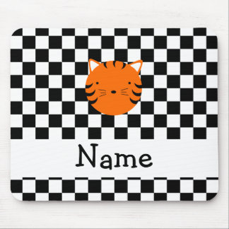 Personalized name tiger face black white checkers mouse pad