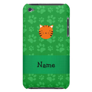 Personalized name tiger face green paw pattern iPod touch Case-Mate case