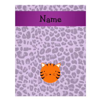 Personalized name tiger face purple leopard print flyer
