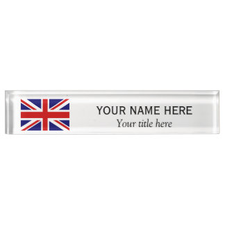 Personalized name title British Union Jack flag Desk Nameplates