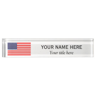 Personalized name title patriotic American US flag Nameplate