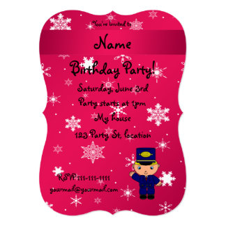 Personalized name train conductor pink snowflakes 13 cm x 18 cm invitation card