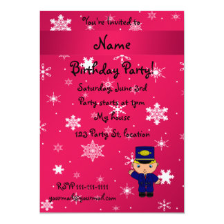 """Personalized name train conductor pink snowflakes 5"""" x 7"""" invitation card"""
