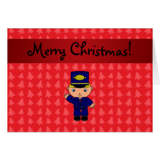 Personalized name train conductor red christmas greeting card