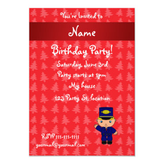 Personalized name train conductor red christmas 13 cm x 18 cm invitation card