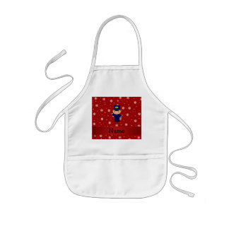 Personalized name train conductor red snowflakes kids' apron